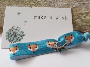 Fuchs Haargummi Hair Ties Armband handgefertigt mit Metallanhänger Fox Geschenk Frauen Freundin Danke mit Karte  - Handarbeit kaufen