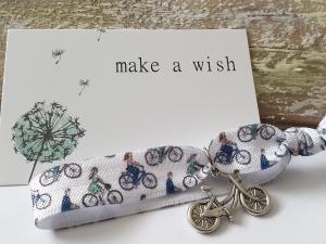 Fahrrad Haargummi Hair Ties Armband handgefertigt mit Metallanhänger Fahrrad Geschenk Frauen Freundin Danke  - Handarbeit kaufen