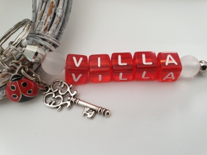 Glücksbringer Haus Villa Schlüsselanhänger handgefertigt Buchstabenperlen Schlüssel Geschenk Frauen Freundin Einzug Richtfest   - Handarbeit kaufen