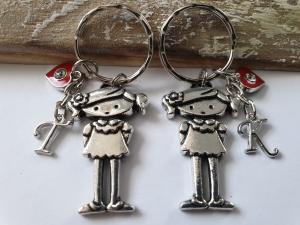 Allerliebste Freundinnen Schlüsselanhänger 2er Set mit Initialen handgefertigt mit Buchstaben Charms Geschenk Freundschaft Frauen Freundin Schwester - Handarbeit kaufen
