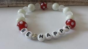 Be happy Armband handgefertigt mit Text Schriftzug sei glücklich Geschenk Botschaft Wunsch Frauen Freundin - Handarbeit kaufen