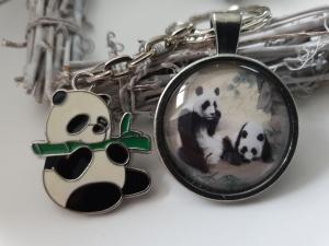 Pandabär Schlüsselanhänger Glascabochon handgefertigt Panda Anhänger Geschenk Frauen Mädchen Zoo Besuch  - Handarbeit kaufen