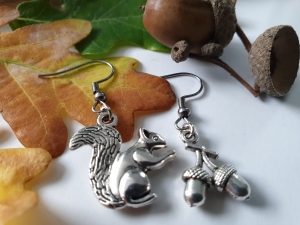 Eichhörnchen Eicheln Ohrhänger Geschenk für Frauen Freundin Mädchen Ohrschmuck  - Handarbeit kaufen