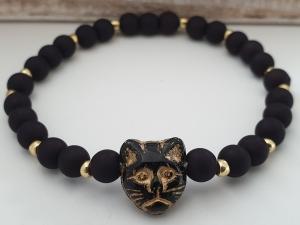 Katzen Armband handgefertigt mit Katzenkopf Glasperle schwarz gold Geschenk Frauen Mama Freundin Katzenmutti Abschied Erinnerung  - Handarbeit kaufen