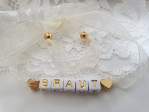Braut Armband mit Buchstaben Perlen zum Binden handgefertigt Herzen JGA Hochzeit Bride to be Geschenk Frauen Heiraten - Handarbeit kaufen