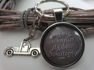 Schutzengel Lkw Auto Schlüsselanhänger Glascabochon handgefertigt Geschenk Frauen Männer Glücksbringer Neues Auto Führerschein  - Handarbeit kaufen