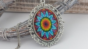 Mandala Glascabochon Kette handgefertigt Geschenk Frauen Freundin Yoga Erinnerung Achtsamkeit - Handarbeit kaufen