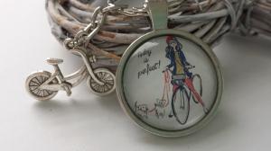 Fahrrad Schlüsselanhänger handgefertigt Glascabochonanhänger mit Metallanhänger Fahrrad Geschenk Frauen Freundin Kollegin  - Handarbeit kaufen