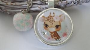 Giraffe Schlüsselanhänger Glascabochonanhänger handgefertigt mit Bommel Geschenk Mädchen Frauen Freundin Zoo Besuch - Handarbeit kaufen
