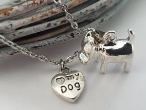 Hund Terrier Kette Hundeliebe Pfotenabdruck Geschenk Frauen Freundin Mädchen Erinnerung - Handarbeit kaufen
