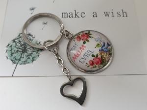Beste Mama Schlüsselanhänger handgefertigt Glascabochonanhänger mit Herz Geschenk Mama Mutter Best Mom Ever Liebe - Handarbeit kaufen
