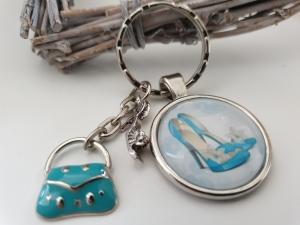 Pumps mit Handtasche Schlüsselanhänger handgefertigter Glascabochonanhänger mit Metallanhänger Pumps und Handtasche Geschenk Frauen Freundin Shopping - Handarbeit kaufen