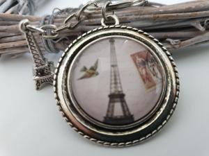 Eiffelturm Paris Schlüsselanhänger handgefertigt mit Metallanhänger Geschenk zum Abschied Urlaub Frauen Männer   - Handarbeit kaufen