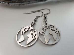 Welt Erde Ohrringe Ohrhänger Edelstahl Glücksbringer Geschenk Frauen Freundin Abschiedsgeschenk Reise - Handarbeit kaufen
