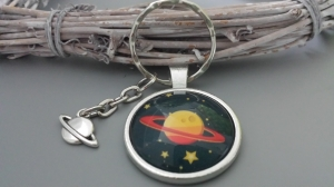 Saturn Planeten Weltraum Schlüsselanhänger Glascabochonanhänger handgefertigt Geschenk Kinder Frauen Männer - Handarbeit kaufen