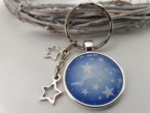 Sterne Schlüsselanhänger Glascabochon handgefertigt mit Sternanhängern Geschenk Frauen Freundin Erinnerung Trauer Trost - Handarbeit kaufen