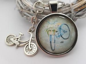 Fahrrad Schlüsselanhänger Glascabochon handgefertigt Metallanhänger Damenrad Geschenk Frauen Freundin Kollegin