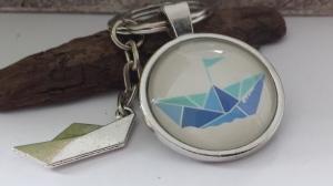 Origami Boot Schlüsselanhänger Glascabochon handgefertigt Anhänger Faltboot Geschenk Frauen Freundin Urlaub   - Handarbeit kaufen