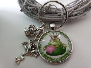Frosch Krone König Schlüsselanhänger Glascabochon handgefertigt Märchenfigur Geschenk für Frauen Freundin Mädchen Single - Handarbeit kaufen