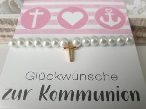 Kreuz Armband weiß-goldfarben handgefertigt Geschenk Kommunion Konfirmation Religion für Mädchen Frauen - Handarbeit kaufen