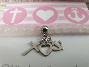 Glaube Liebe Hoffnung Armband Rosenquarz handgefertigt mit Karte Geschenk Kommunion Konfirmation Religion für Mädchen Frauen - Handarbeit kaufen