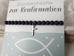Konfirmationsgeschenk Armband mit Kreuz blau-silberfarben handgefertigt Geschenk Firmung Kommunion Konfirmation Religion für Mädchen Frauen - Handarbeit kaufen