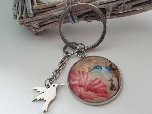 Kolibri Vogel Schlüsselanhänger Glascabochon handgefertigt Geschenk Frauen Mama Freundin Abschied   - Handarbeit kaufen