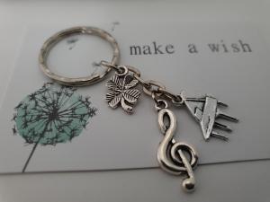 Glücksbringer Musik Flügel Klavier Schlüsselanhänger handgefertigt Notenschlüssel Kleeblatt Geschenk Frauen Männer Musiker Konzert Auftritt - Handarbeit kaufen