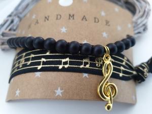 Musik Notenschlüssel Armband Haargummi 2-er Set handgefertigt Violinenschlüssel Geschenk Frauen Freundin Konzert - Handarbeit kaufen