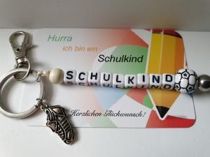 Einschulungsgeschenk Schulkind Fußball Schlüsselanhänger handgefertigt mit Anhängern Geschenk Kinder Junge Schulanfang  - Handarbeit kaufen