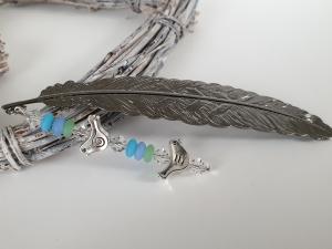 Lesezeichen Feder mit Vögeln Glasperlen Geschenk Frauen Freundin Mama Lehrerin Studium Schule Danke  - Handarbeit kaufen