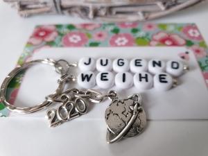 Jugendweihe 2020 Schlüsselanhänger handgefertigt mit Buchstabenperlen Anhänger Erde Welt Geschenk Mädchen Junge Tochter Sohn