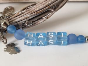 Hasi Hase Schlüsselanhänger Buchstabenperlen handgefertigt mit Kaninchen Geschenk Männer Freund Ostern - Handarbeit kaufen