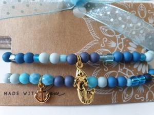 Meerjungfrau Armbandset mit Anker handgefertigt Materialmix maritimer Schmuck Geschenk Frauen Freundin  - Handarbeit kaufen