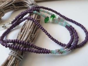 Brillenkette Glasperlen handgefädelt mit Blütenperlen Geschenk für Frauen Freundin Mama Oma  - Handarbeit kaufen