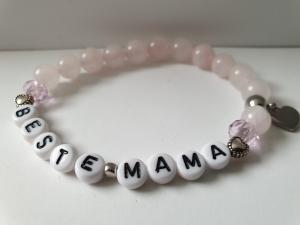Beste Mama Armband Rosenquarz handgefertigt Geschenk Mama Danke mit Herz Anhänger Edelstahl - Handarbeit kaufen