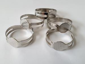 Ringrohlinge mit Klebefläche platinfarben Größe verstellbar 5 Stück - Handarbeit kaufen