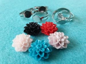 Ringrohlinge mit Klebefläche DIY mit Blumen Dahlien Cabochons aus Resin 10-er Set Basteln - Handarbeit kaufen