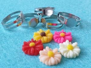 Ringrohlinge mit Klebefläche DIY mit Blumen Cabochons aus Resin 10-er Set   - Handarbeit kaufen