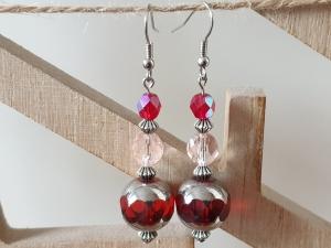 Funkelnde Glasperlen Ohrhänger rot festlich handgefertigt Geschenk für Frauen Freundin Mama Muttertag - Handarbeit kaufen