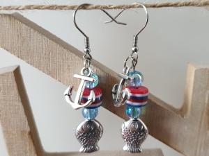 Anker Ohrhänger mit Fisch maritimer Ohrschmuck Geschenk für Frauen Mädchen Freundin Urlaub Sommer Strand - Handarbeit kaufen