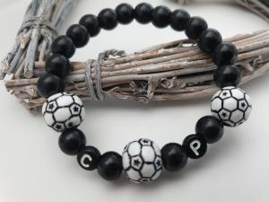 Fußball Armband personalisierbar handgefertigt mit Initialen Geschenk Frauen Männer Kinder Fußballfan - Handarbeit kaufen