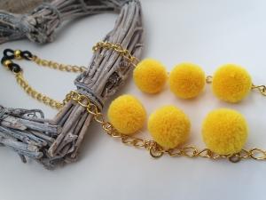 Brillenkette mit Bommeln gelb handgefertigt Geschenk für Frauen Freundin Mama Oma Kollegin Sommer Sonnenbrille - Handarbeit kaufen