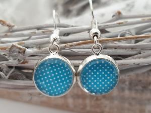 Punkte Ohrhänger Glascabochon 10 mm türkis-blau handgefertigt Geschenk für Frauen Mädchen Freundin  - Handarbeit kaufen