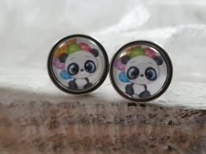 Pandabär Ohrstecker Glascabochon 10 mm Edelstahl Geschenk Frauen Freundin Mädchen Geburtstag Einschulung - Handarbeit kaufen