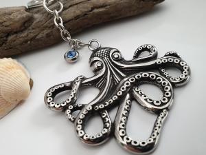 Krake Octopus Schlüsselanhänger Edelstahl mit Strass Geschenk Frauen Männer Urlaub Meer Erinnerungsgeschenk - Handarbeit kaufen