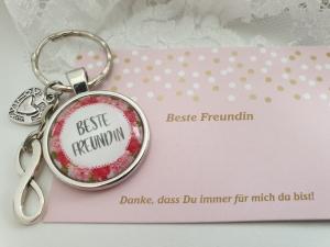 Beste Freundin Schlüsselanhänger Glascabochon Infinity Herz Freundschaftsgeschenk Frauen Freundin Danke mit Karte