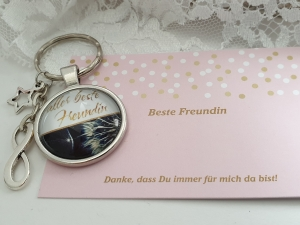 Aller Beste Freundin Infinity Stern Schlüsselanhänger Glascabochon Freundschaftsgeschenk Frauen Freundin Danke mit Karte  - Handarbeit kaufen