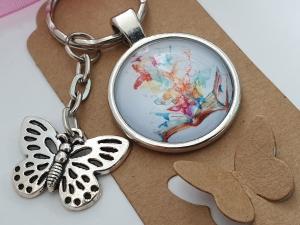 Schmetterlinge Schlüsselanhänger Glascabochonanhänger handgefertigt mit Karte und Metallanhänger Schmetterling Buch Geschenk Frauen Freundin Erinnerung  - Handarbeit kaufen