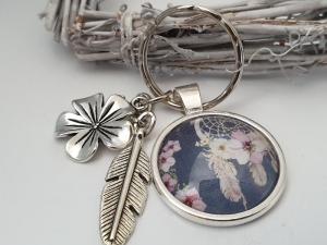 Traumfänger Schlüsselanhänger handgefertigt Glascabochon Metallanhänger Feder Blume tolles Geschenk Freundschaft Abschied Erinnerung Frauen Freundin    - Handarbeit kaufen